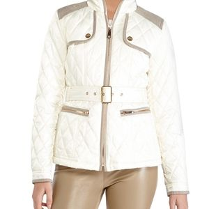Vince Camuto White Quilted Field Jacket